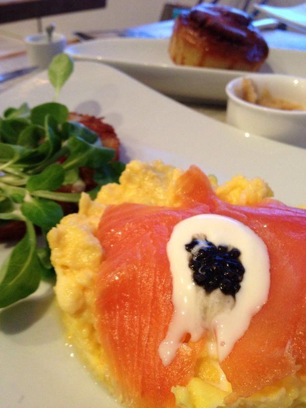 Smoked Salmon & Eggs Crème Fraîche, Caviar, Pressed Potatoes