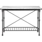 French kitchen island with carerra marble top and cast steel legs