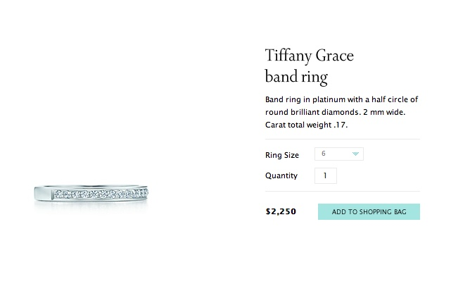 Tiffany Grace wedding band. 2,250.