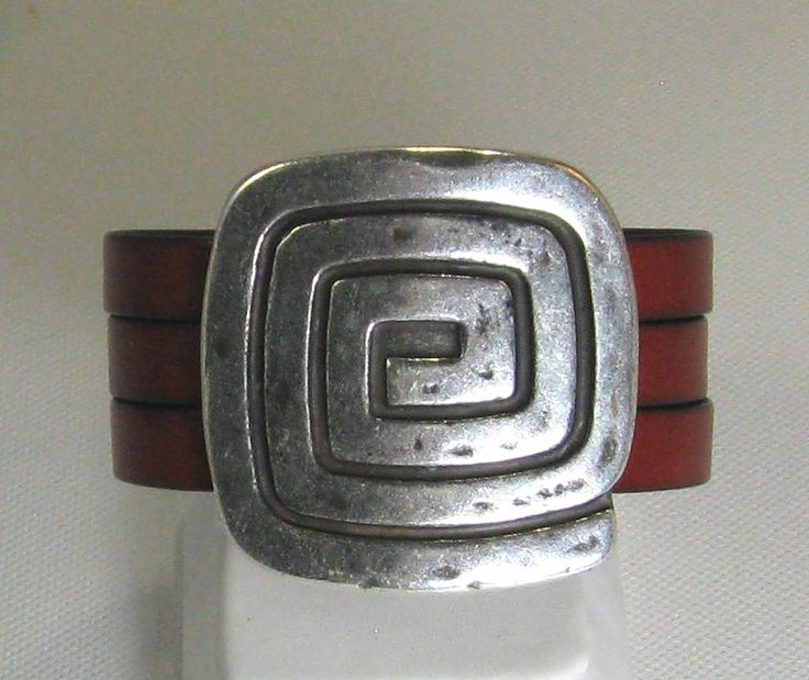 Red European Flat Leather Cuff Bracelet $65.00