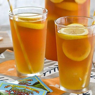 iced tea with honey lemon ginger ice cubes