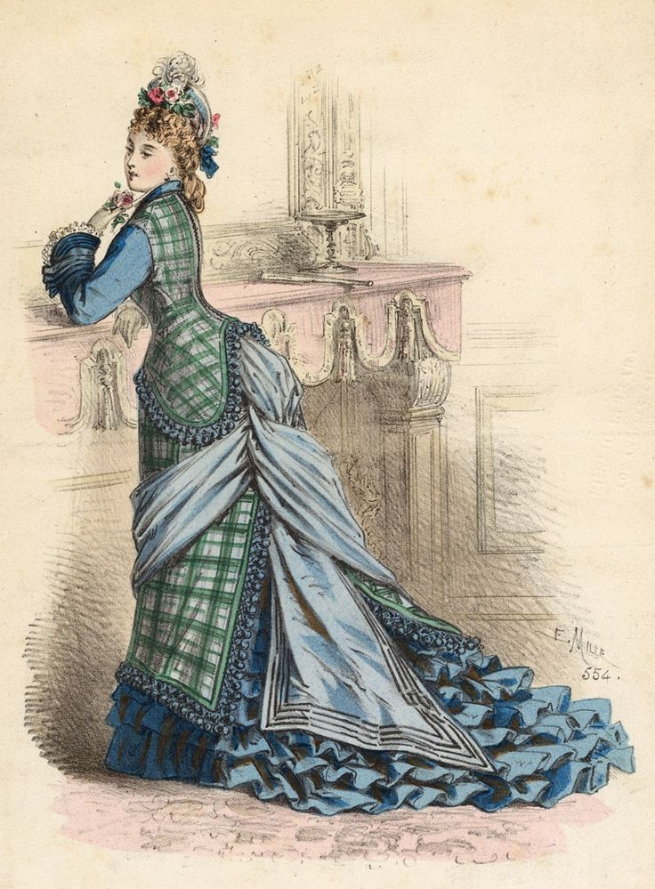 1875- Scottish plaids gained favor and fashionability in the midst of the 1870's- this one also featured frilled skirting sweeping the floor, a bowed bustle and a modicum of attitude.
