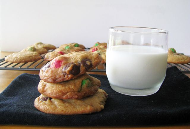 me now. Pretzel M&M Chocolate Chip cookies. But the glass of milk ...