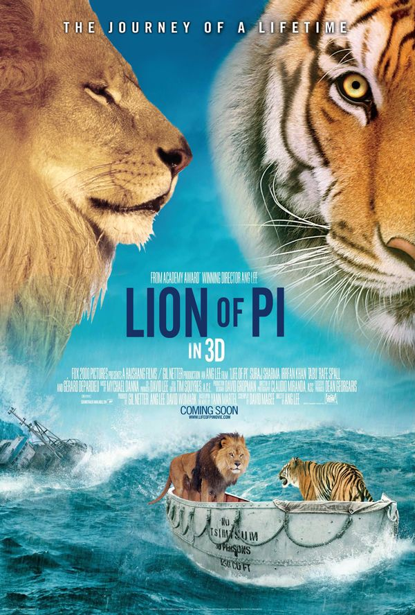 Oscar nominated film posters with animals i would be for Life of pi characters animals