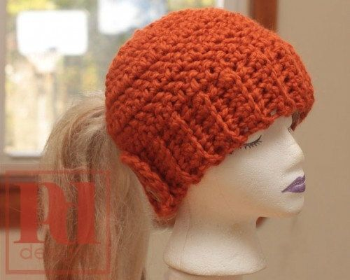 Free Crochet Pattern Ponytail Hat : Ladies Easy Ponytail Hat with Back-closing Button Band ...