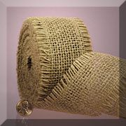 """source for jute ribbon with frayed edges that is 2 1/2 or 1 1/2"""" wide.comes in a variety of colors as well as natural"""