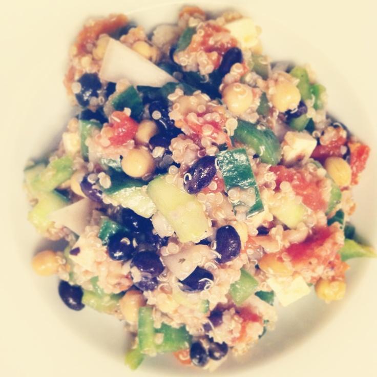 Greek Salad • quinoa style • tofu, black beans, chickpeas, onion ...