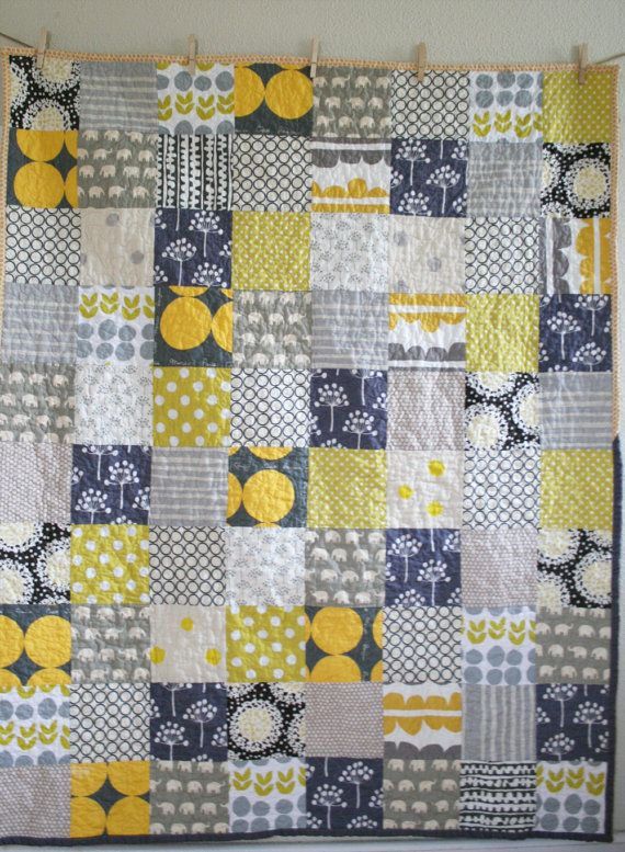gray and yellow quilt by Namoo -- antother color combo I want try!