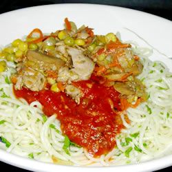 ... bell pepper and onion, then stirred into hot angel hair pasta and