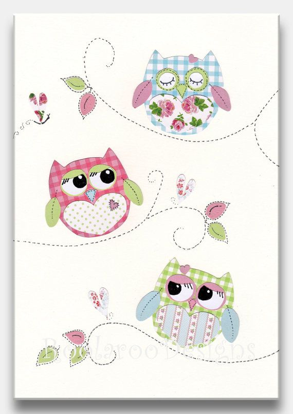 Nursery art print owl decor baby girl nursery kids wall art pink - Girl owl decor ...
