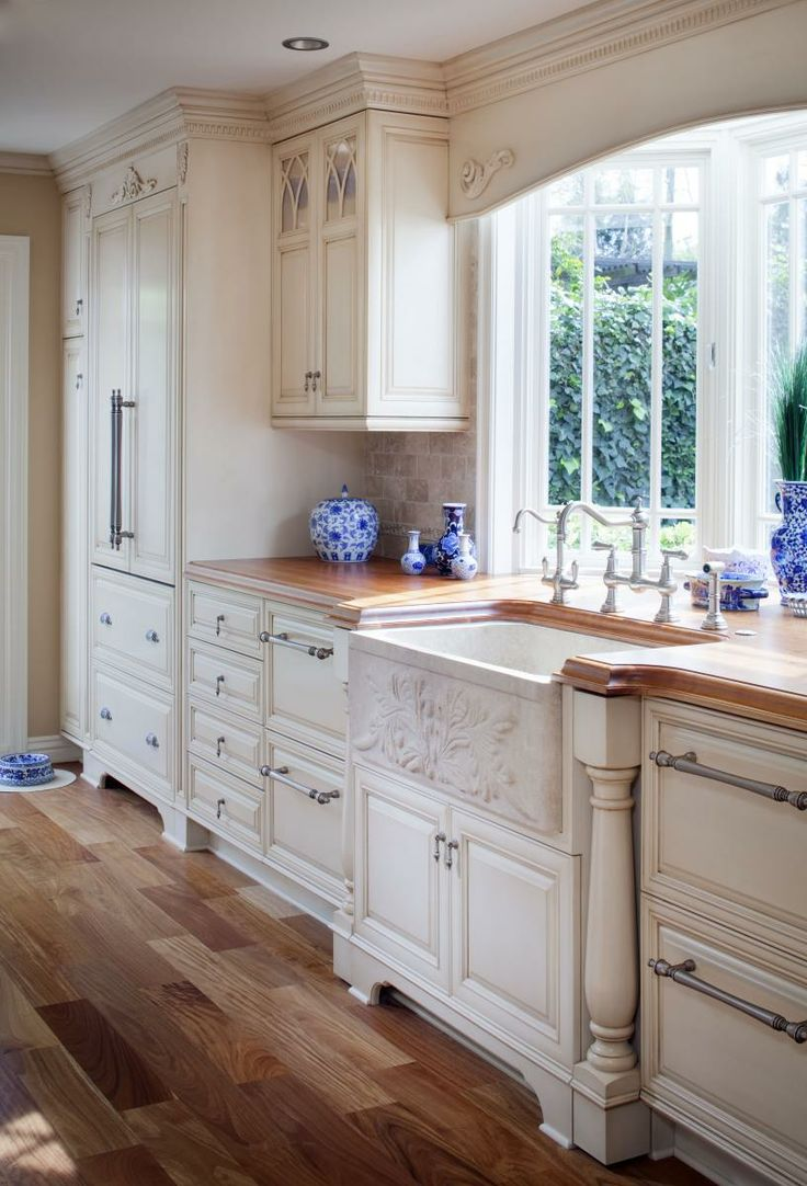 Elegant country kitchen kitchens pinterest for Country kitchen cabinets