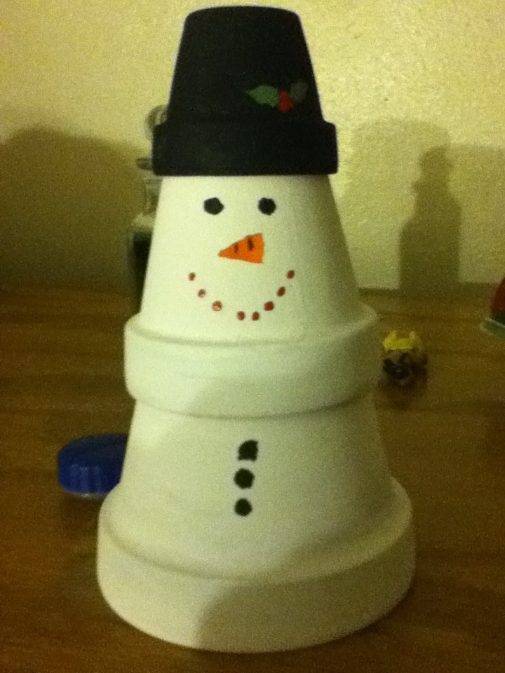 Small flower pots stacked and painted to make a snowman