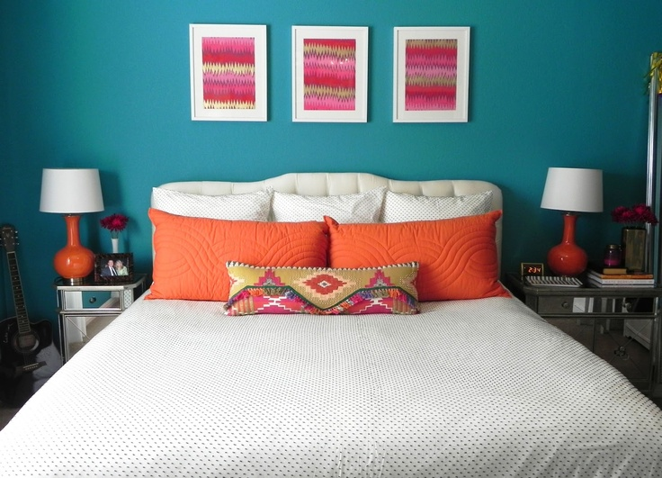 Teal and orange spare bedroom ideas for the home pinterest for Teal paint for bedroom