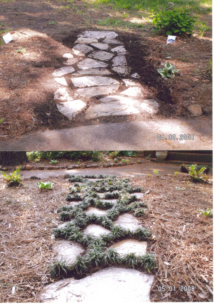 Flagstone path with mondo grass outside pinterest for Stone path in grass