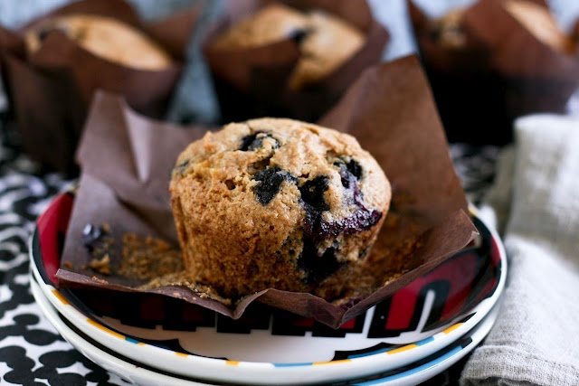Banana Blueberry Wheat Muffins. -Edit- These muffins are wonderful ...