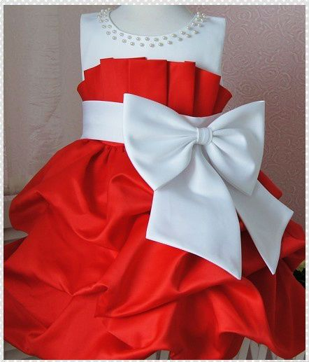 And white ribbon girls party dress for age 3 to 4 years for christmas