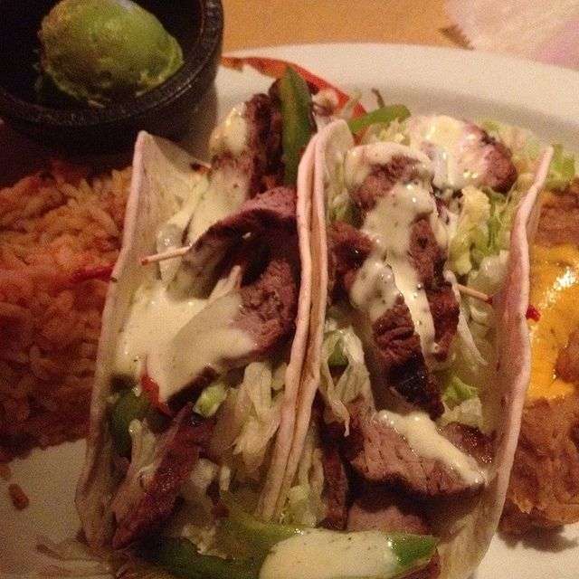 Grilled steak tacos drizzled with avocado ranch sauce. Very good! (via ...