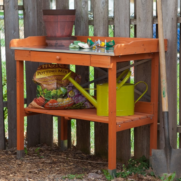 Cypress Wood Lotus Potting Bench With Metal Top Www