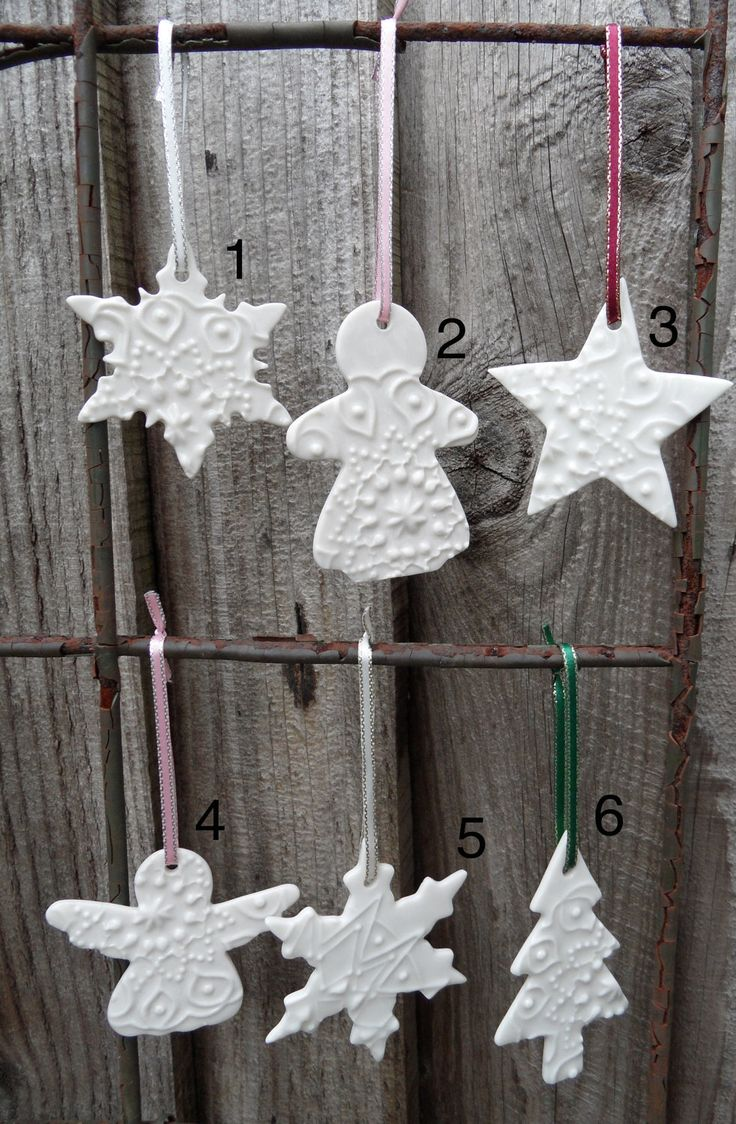 Make salt dough ornaments and then when dry glue for texture and paint