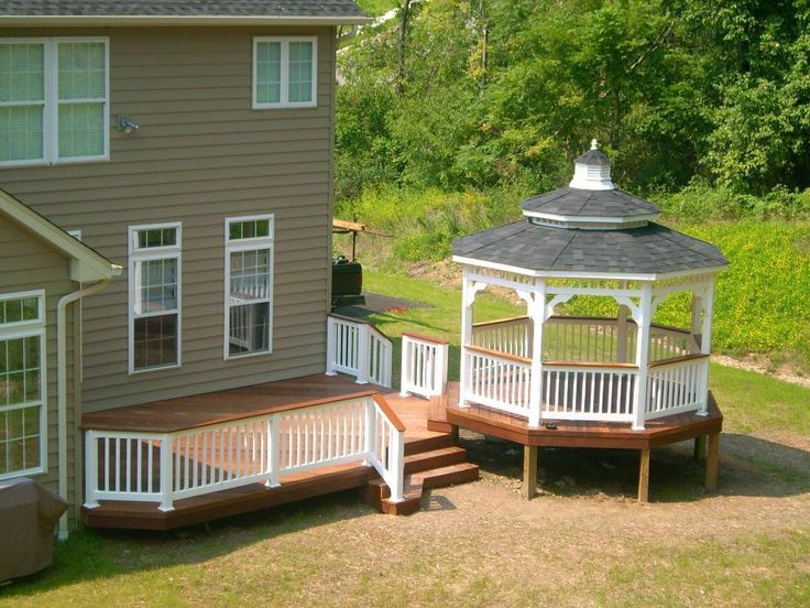 Ipe deck with white vinyl gazebo backyard pinterest for Decks and gazebos