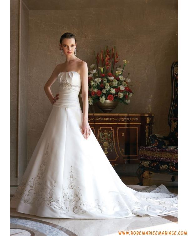 Robe A-ligne en satin décorée de broderies robe de mariée...