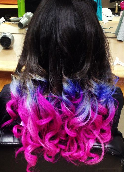 big barrel curls in dark brown, to violet/white, to magenta | Hair