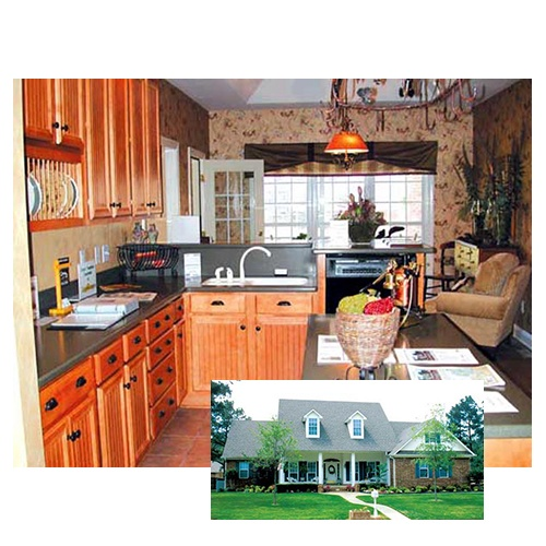 The finished house plan 62006 includes this warm #country #kitchen. See more photos of the completed interior at familyhomeplans.com