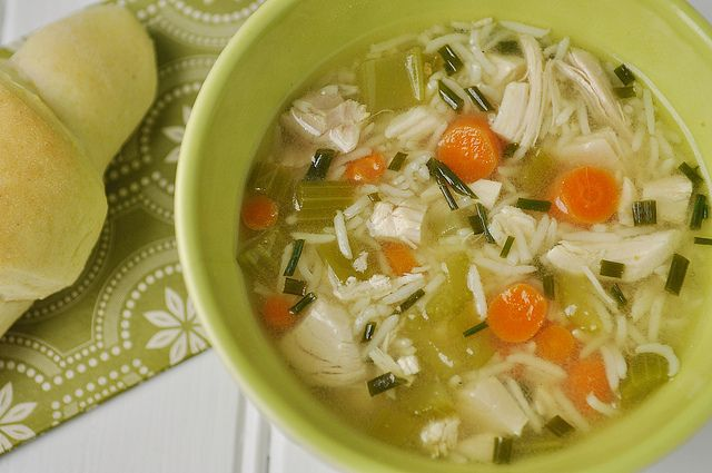 Quick Chicken and Rice Soup. I always add a little butter and some ...