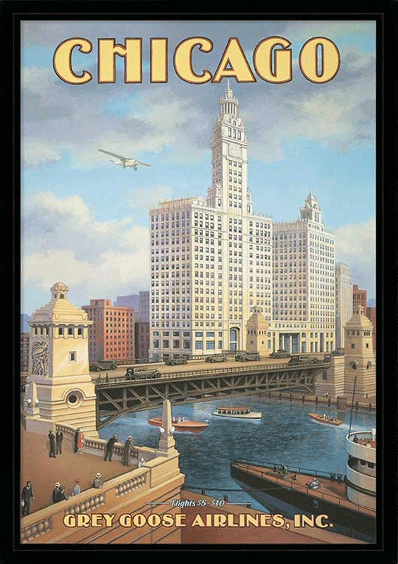 chicago vintage travel poster travel posters n s