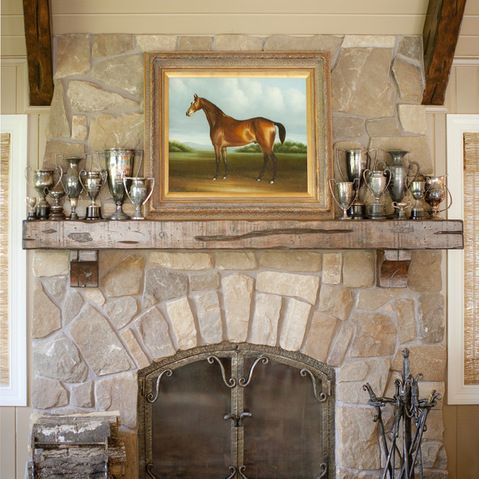 Stone Layout And Rustic Mantel Fireplace Wall Pinterest
