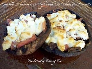 Portobello Mushroom Caps Stuffed with Goat Cheese and Prosciutto