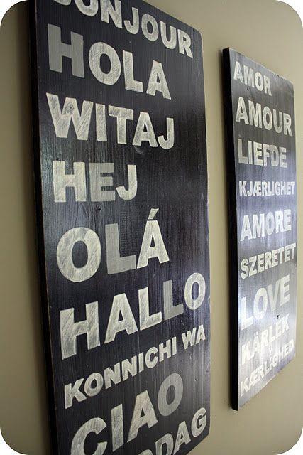 decoração de viagem quadro idiomas madeira