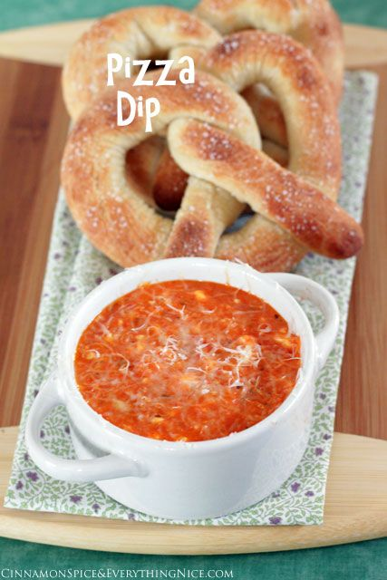 Pizza Dough Pretzels with Pizza Dip for the superbowl!