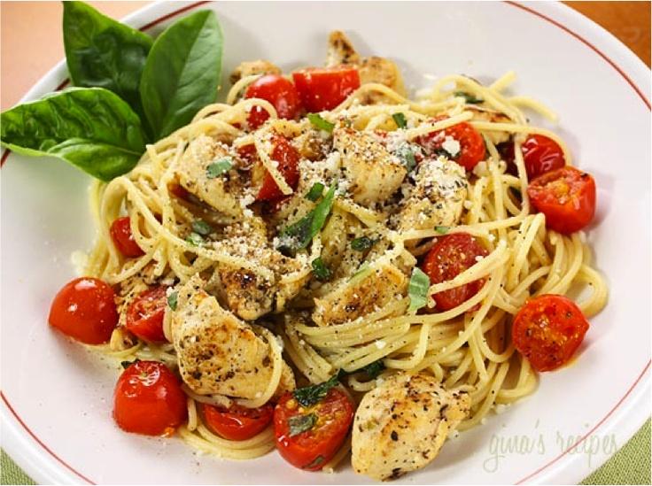 Spaghetti with Sauteed Chicken and Grape Tomatoes | Recipe