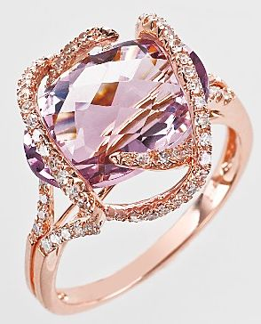 I love this as an engagement ring .. Pink Amethyst and Diamond Ring in 14 Kt. Rose Gold