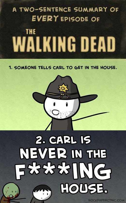A two sentence summary of every episode of The Walking Dead.