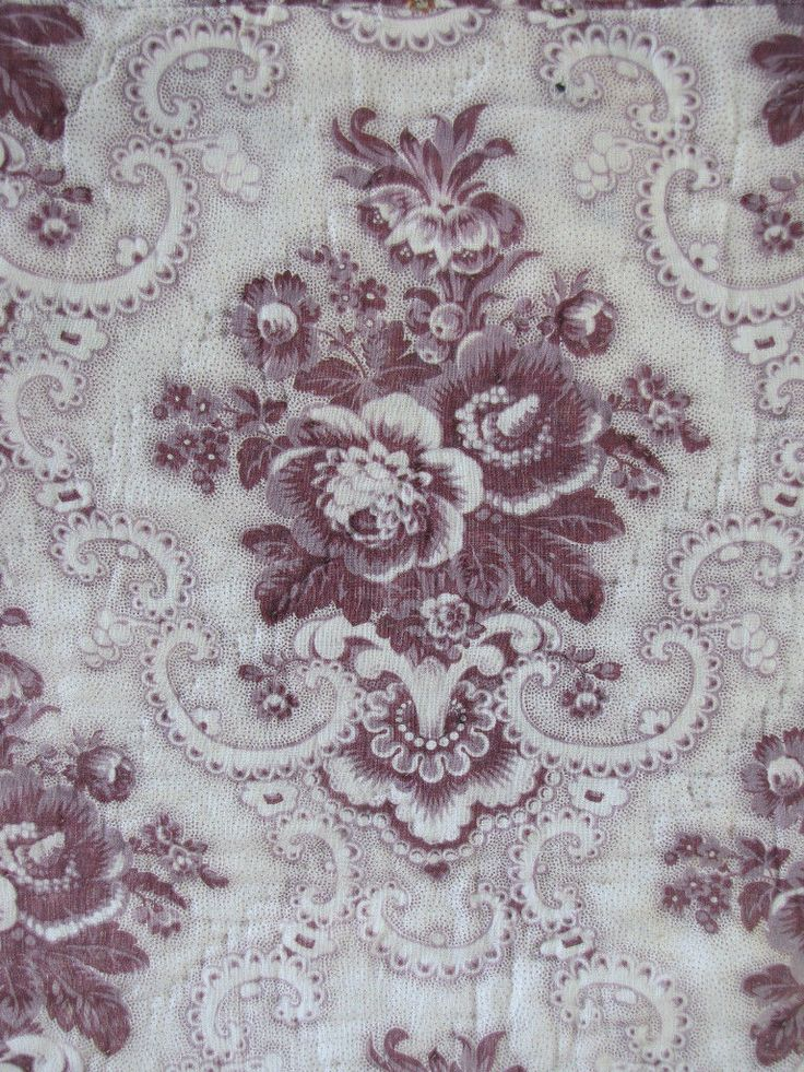 Antique french purple toile fabric c1830 picotage valance for French toile fabric