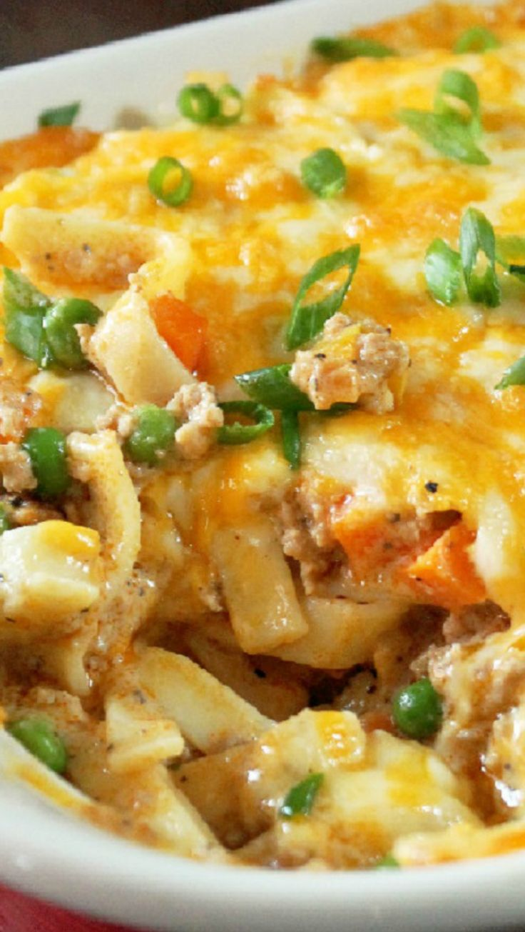 Turkey Noodle Casserole ~ Hot, bubbly, and real cheesy. This dish had ...