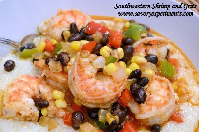 True Grits With Southwestern Shrimp Recipe — Dishmaps