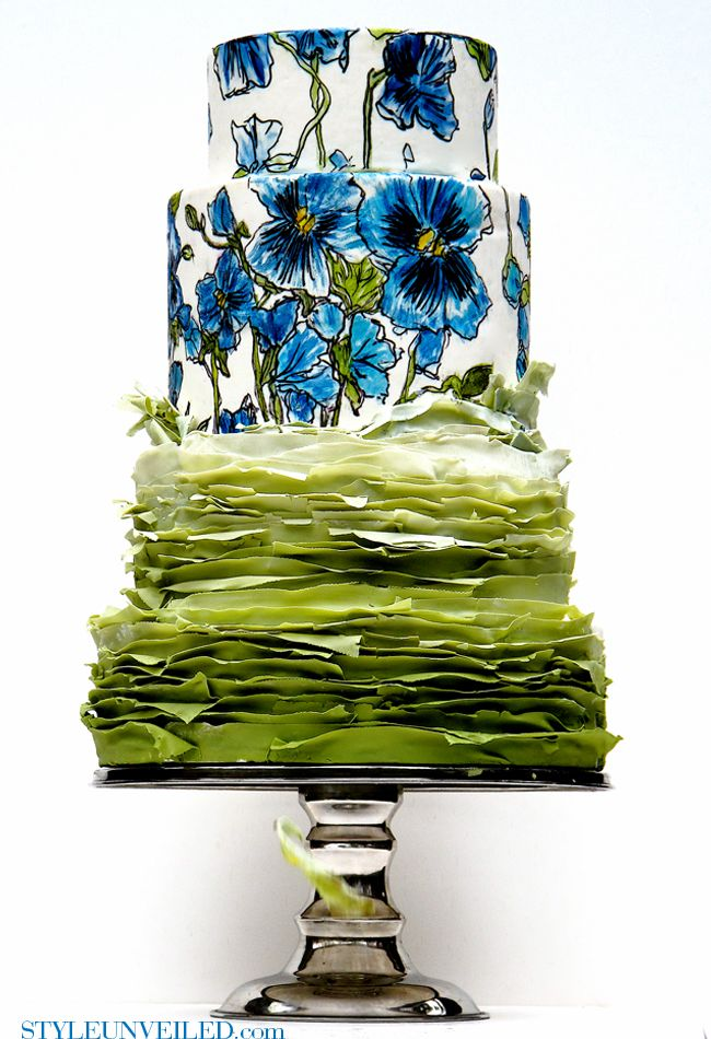 Style Unveiled | A Wedding Blog - Green Frilly Wedding Cake with Blue Pansy Design