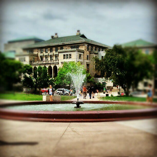 After a long hiatus, the Library Mall fountain is running again. Campus trivia: What is the fountain's official name?