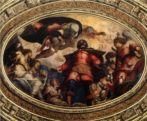 The Apotheosis of St Roch or St. Roch in Glory - Tintoretto. c. 1564. Oil on canvas. 240 x 360 cm. Ceiling, Sala dell'Albergo, Scuola Grande di San Rocco, Venice, Italy.