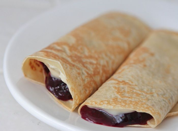 Creamy Lemon Blueberry Crepes.... Made these for dessert last evening ...