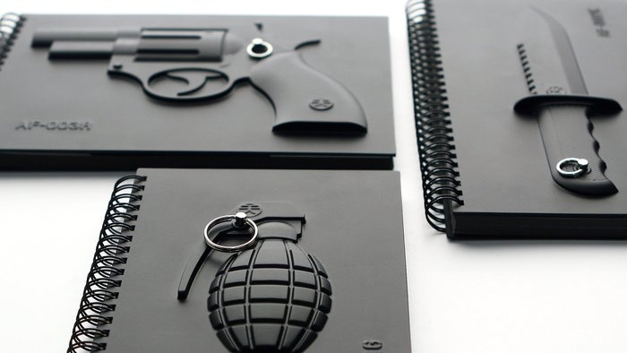 Set of Armed Notebooks  By Megawin. For the survivalist in your life....  http://www.ahalife.com/signup/?utm_source=Pinterest&utm_medium=NickGoodey