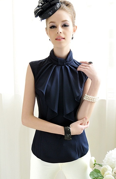 Elegant bowknot receives sleeveless OL women's shirt