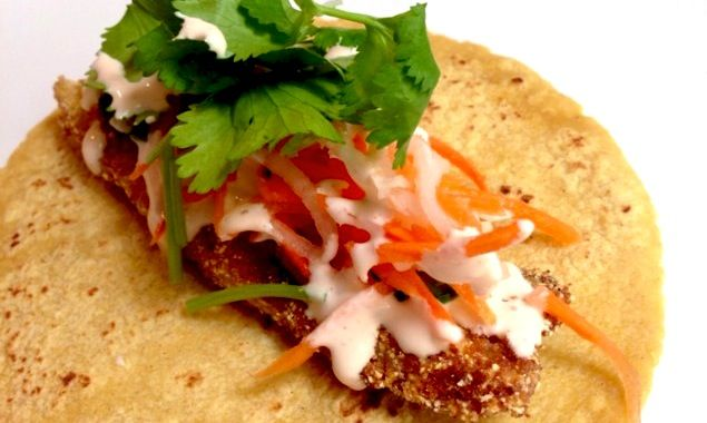 These tacos are like gold, topped with pickled daikon, carrots, and a ...