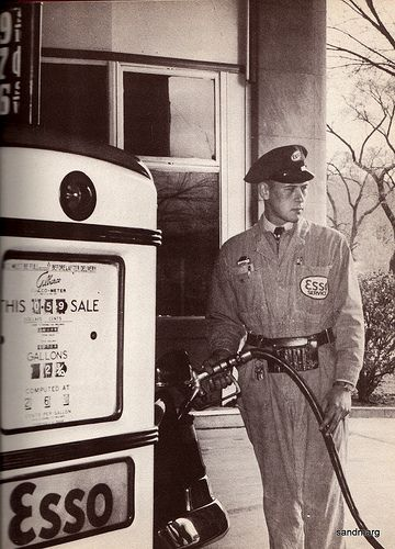 1957 Esso Gas Station Attendant...it's been decades since the full service gas station.