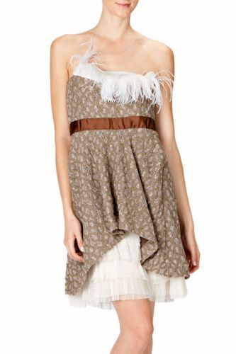 Ryu Brown Feather Lace Strapless Dress s Boutique Clothing Sold Out M L | eBay