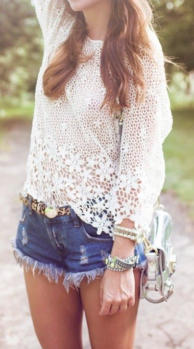 Crochet top + Denim Shorts +Rafaelian Rafaelian Helseth Pique tights or socks = super summer chic!