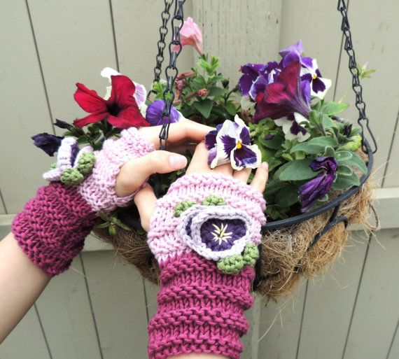 Pansy Fingerless Gloves or Hand Warmers,  Organic Cotton, Knitted  Pink  Wrist Warmer, Cuff. Other Colours Available
